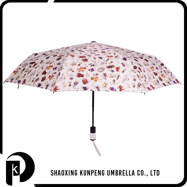 Atificial leather covered plastic Handle print kids umbrella with cute animal customized printing cute 3 fold bag umbrella