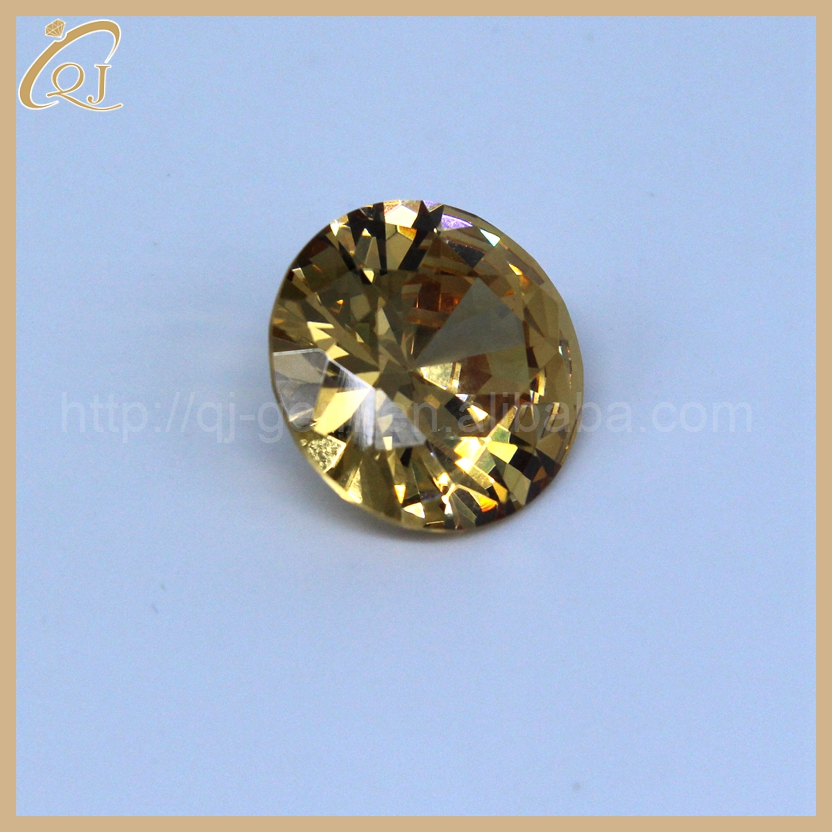 cz in gold setting 1.2mm champagne round shape cubic zirconia gemstone market price