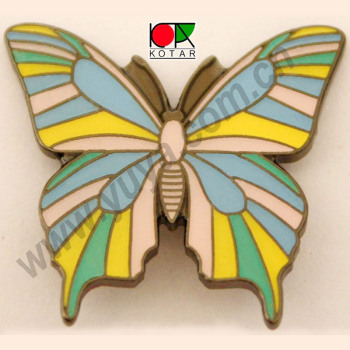 custom promotional iron soft enamel lapel pin butterfly brooch