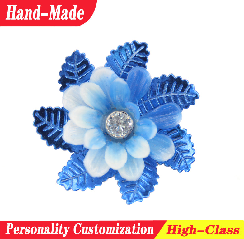 Snowflake shaped artificial fabric flowers with rhinestone