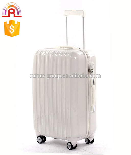 white color ABS+PC trolley luggage cheap travel suitcase