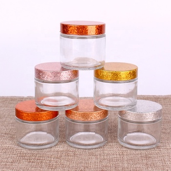 Hot selling flint  glass storage jar with shining lid