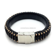 Factory supply top quality 316L stainless steel Genuine leather bracelet with magnetic clasp