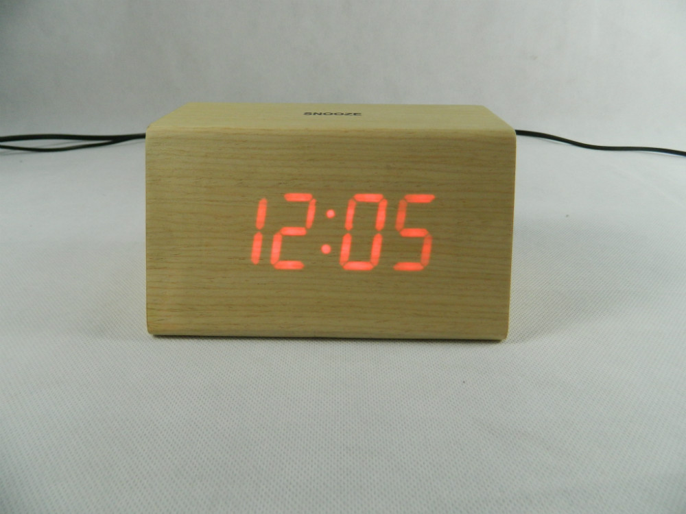 WL1226T Hot Sale Nature Wood Sensor Touch Table Clock