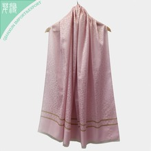 SC-129095 Fashion Printed 100% Polyester Silk Pink Lady Scarf