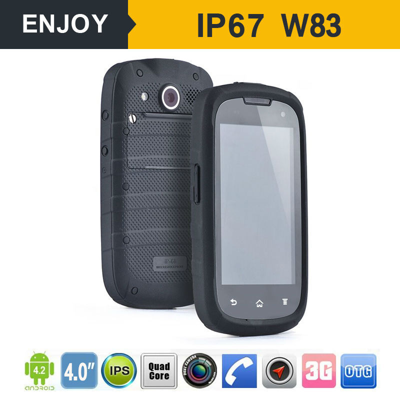 4.0 inch touch screen dual camera rugged GPS WIFI Blurtooth Wcdma 3G smart waterproof android mobile phone