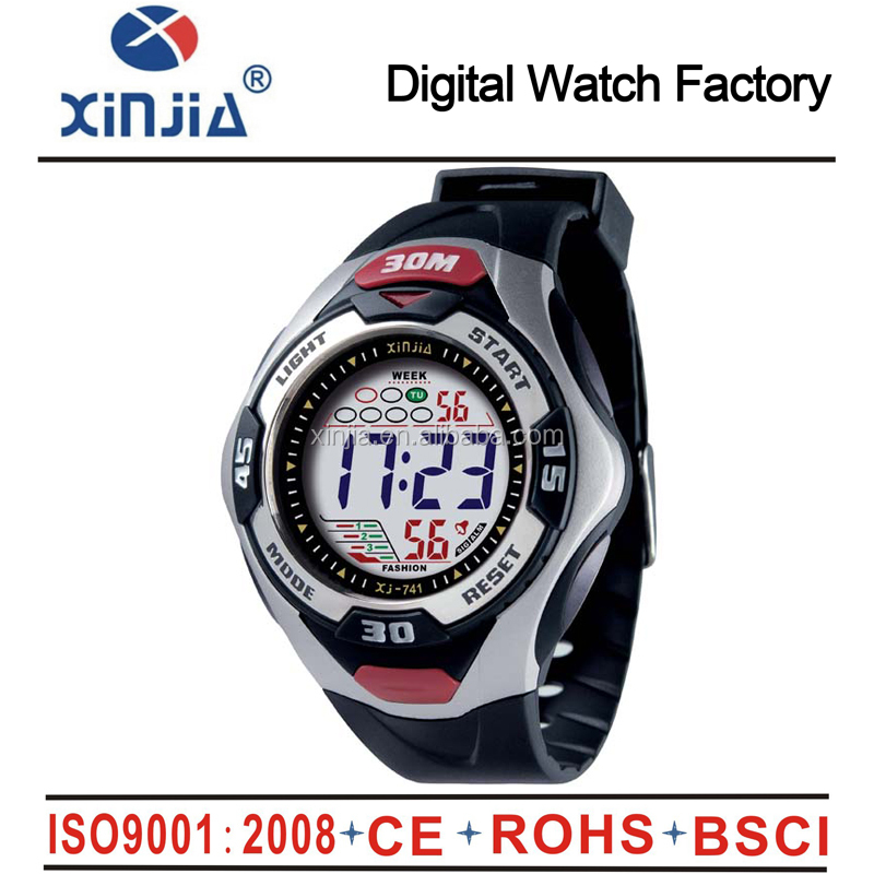 fashion plastic water resistant 50m flashing LED display digital man watch