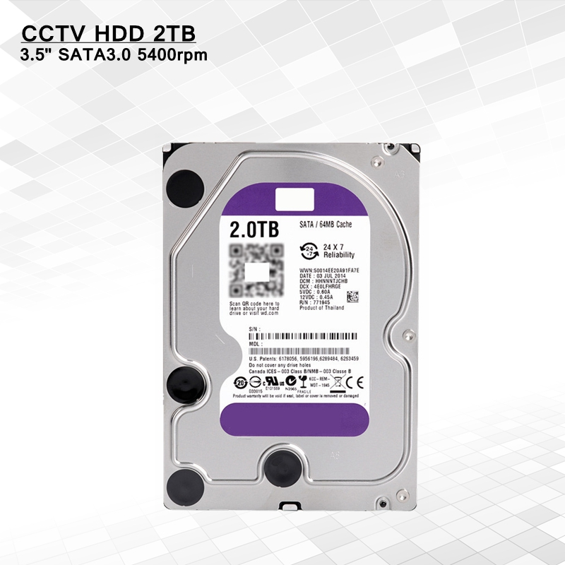 Genuine surveillance hdd 2TB 3.5'' 5400rpm sata refurbished ssd hard drive for Hikvision cctv