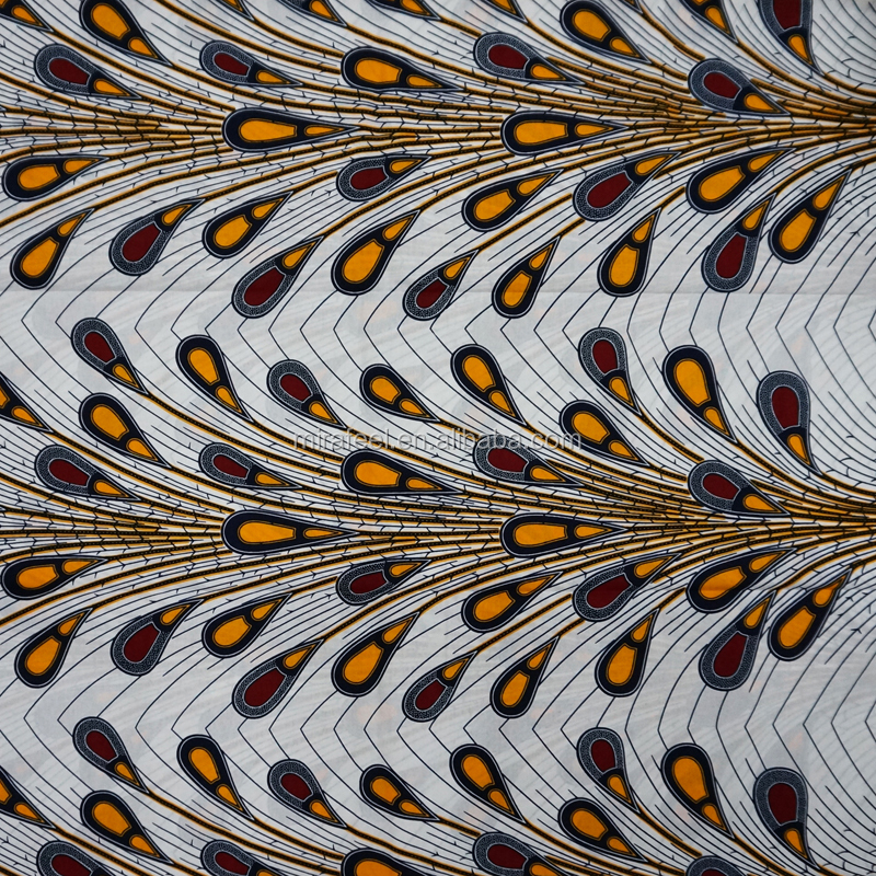Popular african wax fabric wholesale african printed fabric with peacock tail pattern beautiful for women party dress