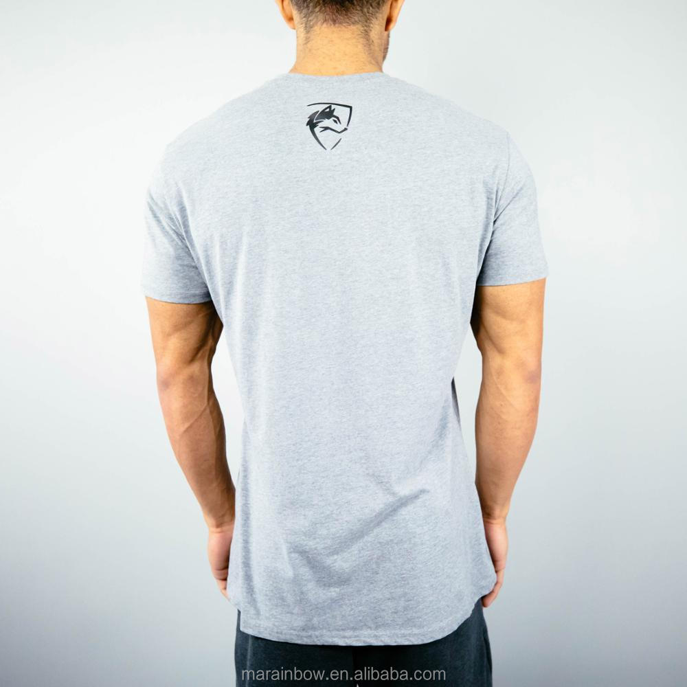Gray 94% Cotton 6% Elastane Mens Fitted Gym T Shirt 3D Silicone Rubber Printing Short Sleeve Performance Shirt Gym Wear