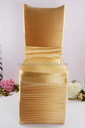white wedding chair covers/quilted chair cover/golden chair covers with drape in back