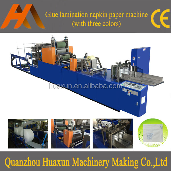 Automatic embossing serviette tissue printing interfold square napkin paper processing machine