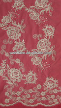 Embroidered Allover Rose Floral Corded Design Wedding Lace Fabric Guangzhou Manufacture