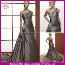 SD1210 one shoulder corset back wedding dresses China silver satin wedding dress