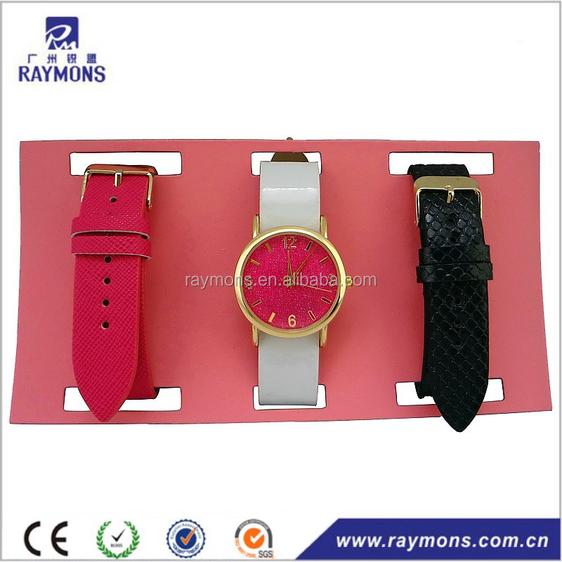 Nice 3 replaceable strap ladies gift set watch