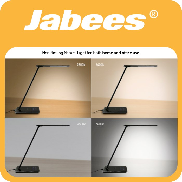 Jabees lifestyle 5V table lamp smart rechargeable led desk lamp with wireless charging for samsung