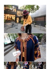 2017 New Fashion Hot Sale Woman All Matche Red Color Pattern Long Fund Knitting Three Quarter Sleeve Cardigan LS085633