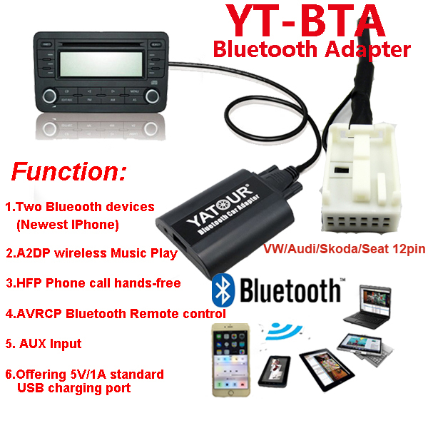 Yatour Bluetooth Digital MP3/Hands free car radio adapter/kit for VW/Skoda/AUDI/Seat>AVRCP BT control/Recharge