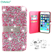 Luxury Full Body Bling Diamond Flip Leather Wallet Case For iPhone, Silk Pattern Card Slot Stand Holder Cover