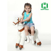 Playful plush rideable animal rocking horse with wheels