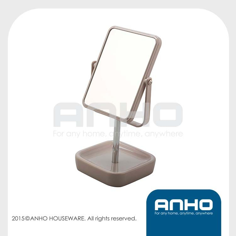 Square double-sided 1X/5X magnification table mirror, makeup mirror, cosmetic mirror