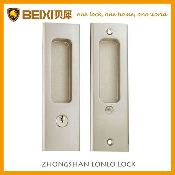 High security zinc alloy satin nickel finish entrance sliding glass door lock