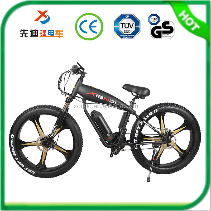 lastest design 21 speed 350W middle motor aluminum alloy 26 inch integral wheel electric beach /snow /sand bike