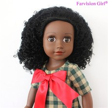 "18"" Black Doll with natural hair African American Poseable Doll Curly Girls"