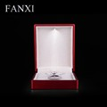 FANXI China Supplier Luxury Red Color Rubber Paint Wholesale Jewelry Boxes With Led Light For Counter Showcase Necklace Box