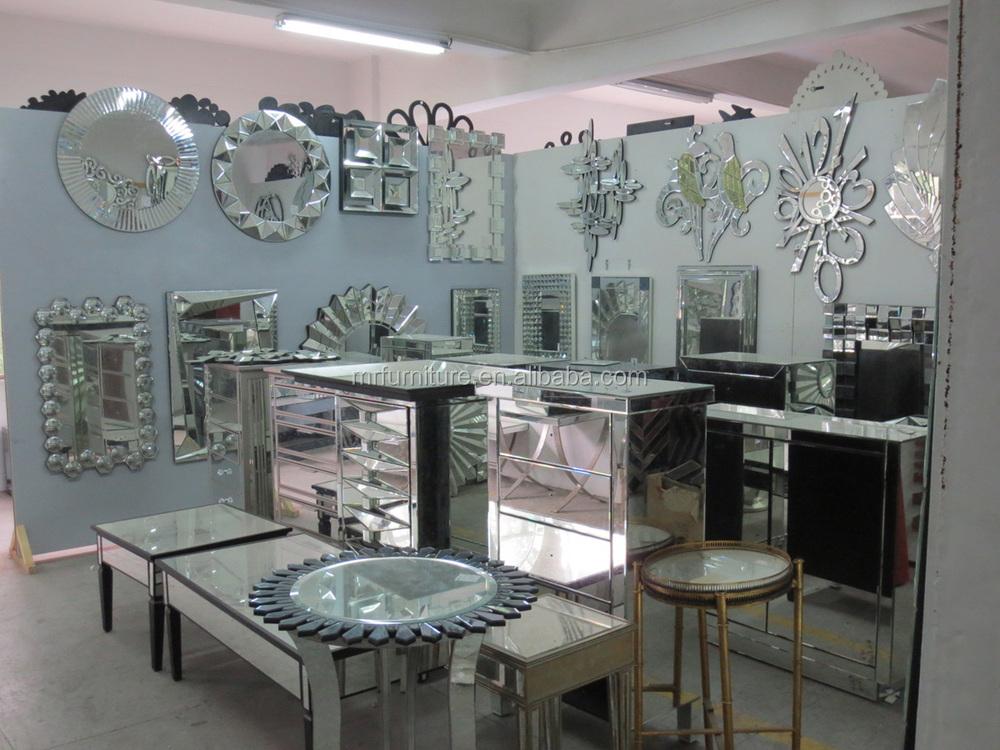 Modern mirrored coffee table diamond shape buy diamond for Salon table and mirror
