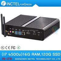 Mini pc 2015 New desktop mini itx htpc with haswell Intel Core i7 4500U 1.8Ghz USB 3.0 DP 16G RAM 120G SSD