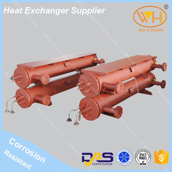 Stainless steel shell and tube heat exchanger, corrosion resistant heat exchanger, seawater condenser