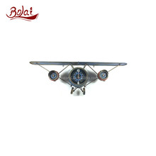 BSCI exhibit diverse iron paper and glass craft clock model airplane for living room