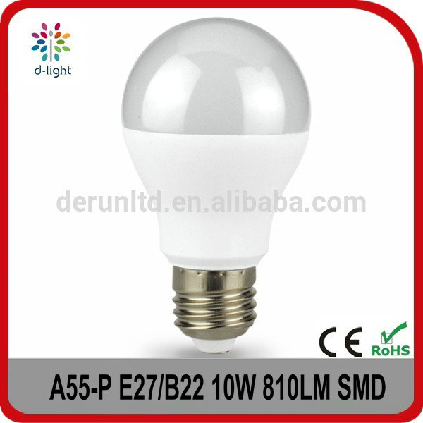 A55 E26 E27 B22 lamp base dimmable and non-dimmable 10W light led bulbs with ce rohs for home lighting