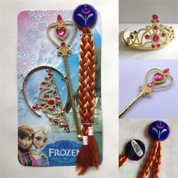 Hot selling Frozen Anna cosplay wig + crown + wand,Kids cosplay costume accessorries, Frozen Anna Crown