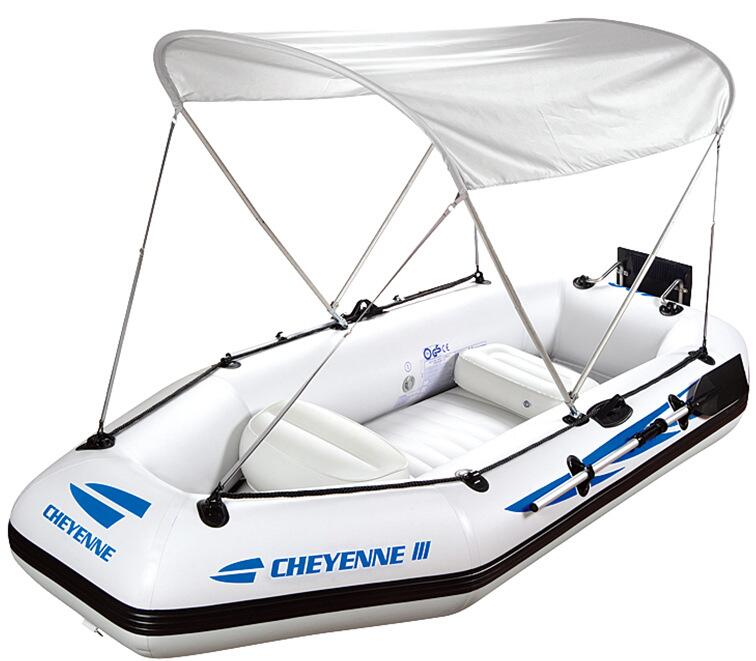 portable touring boat with awning and seat