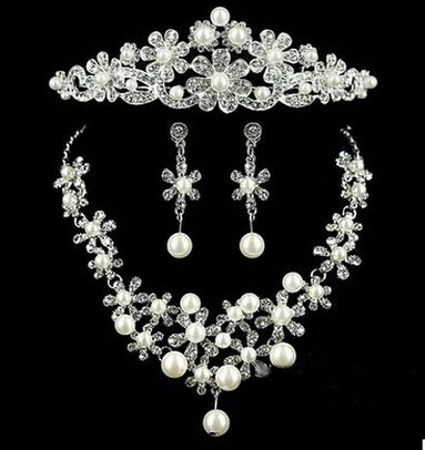 Hot Sale Fashion Wedding Jewelry Crystal Crown Earrings Necklace Bridal Jewelry Set
