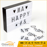 Factory Price DC5V ABS Material Wedding Decoration Party Cinema Style Retro Vintage Light Box with Letters and Symbols