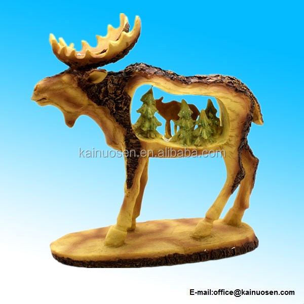 Roman Christmas Moose Figurine: Old-World Wood Carving Styled With Nature Scenery