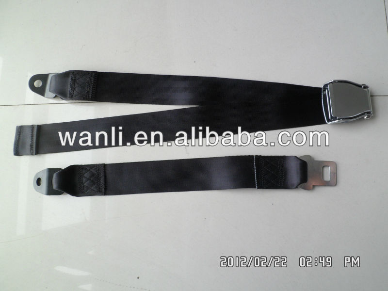 A016-2 black airplane static 2point safety seat belt,2point standard airplane seat belts