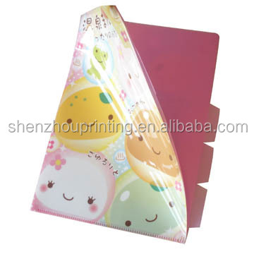 2015 A4 size classified file folder stationery PP Plastic L shape folder with full color UV printing
