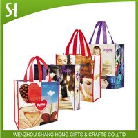Recycled pp laminated woven shopping tote bag