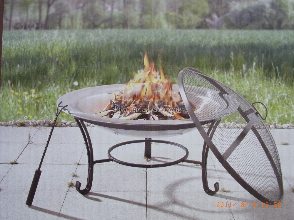 Metal Outdoor Fireplace Round Fire Pit Ring Cast Iron Garden