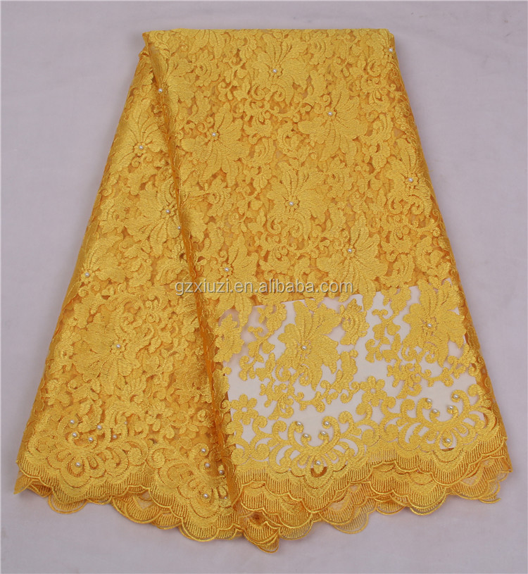 Yellow Embroidered And Lace Strips Nigerian Styles Cord Lace With Pearls Embroidery Net Lace Chemical