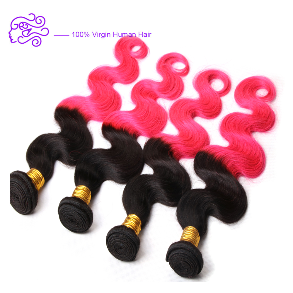 Fashion Ombre Two Tone Color 1B/Bright Pink Hair Weaving Body Wave Brazilian Human Hair Extension