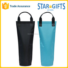 Promotional Custom Polyester Insulated Wine Bottle Cooler Bag With Leather Handles