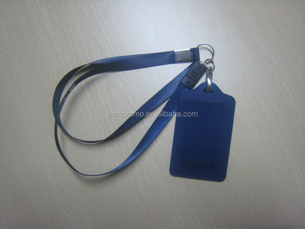 Promotional printed nylon lanyard with leather ID card holder