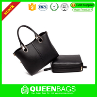 Professional fashion black color pu leather women tote bag with high quality