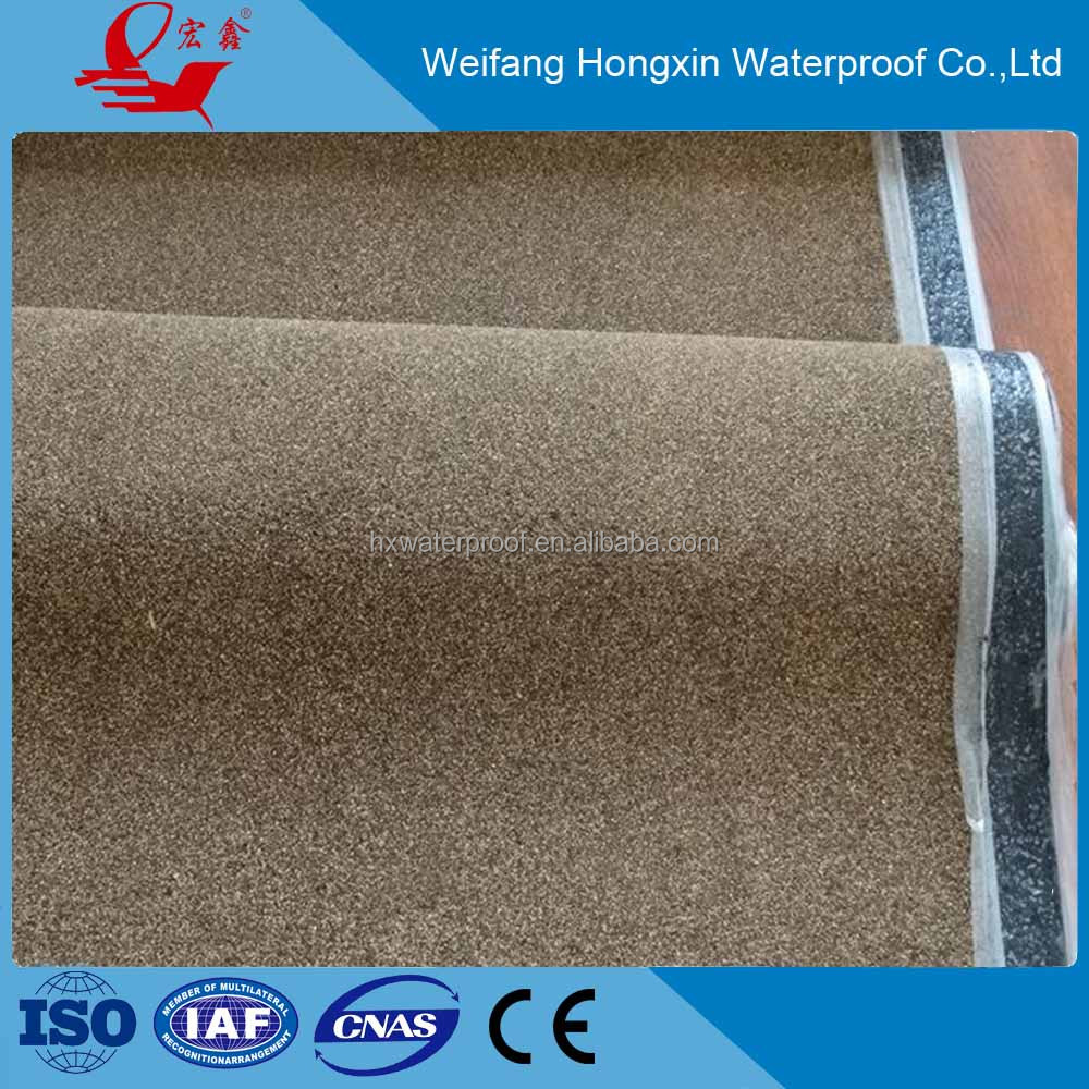 sand/aliminum foil/ flake rock surface self-adhesive bitumen waterproof membrane for roof