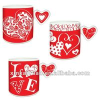 2014 heart shape wholesale ceramic coffee mug